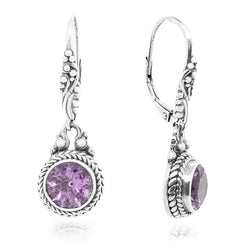 Precious Sarda .925 Sterling Silver Amethyst French Wire Handcrafted Earrings - Triple Blessings