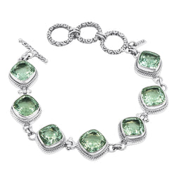 Precious Sarda .925 Sterling Silver Green Amethy Prasiolite Handcrafted Toggle Bracelet - Triple Blessings