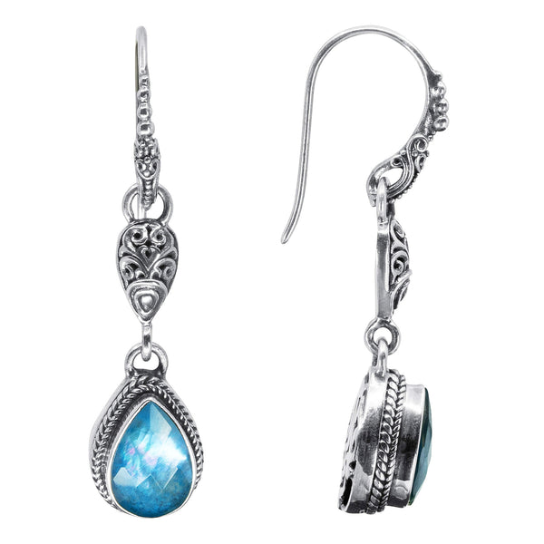 Precious Sarda .925 Silver Blue Quartz Mother of Pearl Dangle Earrings - Triple Blessings