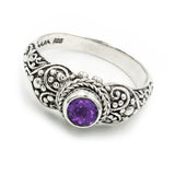 Precious Sarda .925 Sterling Silver Amethyst Birthstone Handcrafted Ring - Triple Blessings