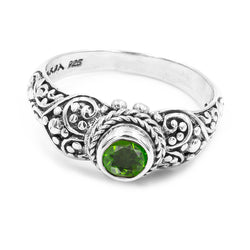 Precious Sarda .925 Sterling Silver Chrome Diopside Birthstone Handcrafted Ring - Triple Blessings