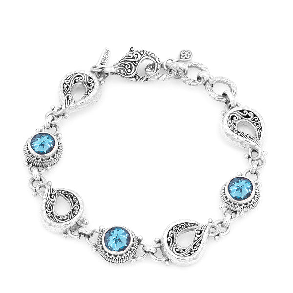 Precious Sarda .925 Sterling Silver Swiss Blue Birthstone Toogle Bracelet - Triple Blessings