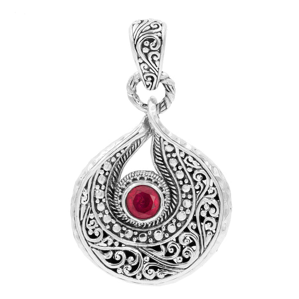 Precious Sarda .925 Sterling Silver Ruby Birthstone Handcrafted Pendant - Triple Blessings