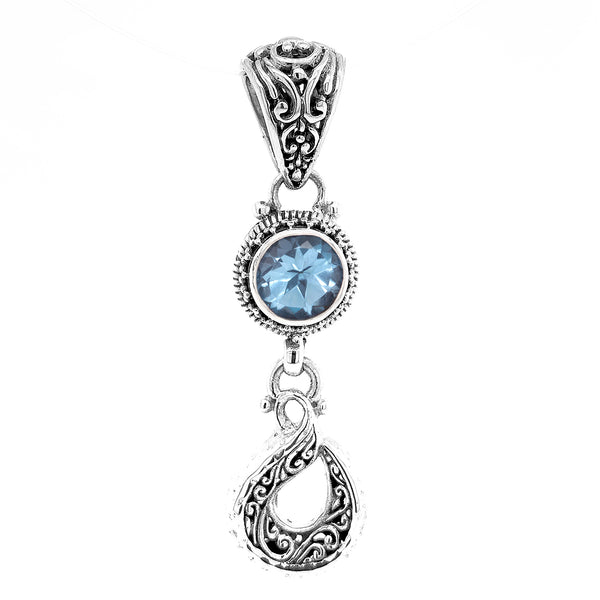Precious Sarda .925 Sterling Silver Swiss Blue Topaz Birthstone Pendant - Triple Blessings