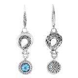 Precious Sarda .925 Sterling Silver Swiss Blue Birthstone Wire Earrings - Triple Blessings