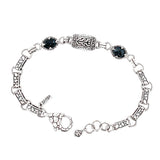 Precious Sarda .925 Sterling Silver Black Spinel Toggle Bracelet - Triple Blessings