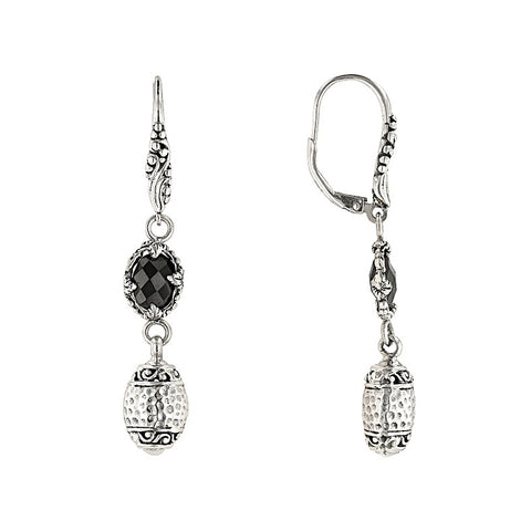 Precious Sarda 925 Sterling Silver Black Spinel Dangle Handcraft Earrings - Triple Blessings