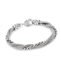 Precious Sarda .925 Sterling Silver 3 Strand Twisted Handcrafted Bracelet - Triple Blessings