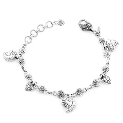 Precious Sarda .925 Sterling Silver Hope-n-Future Charm Bracelet - Triple Blessings