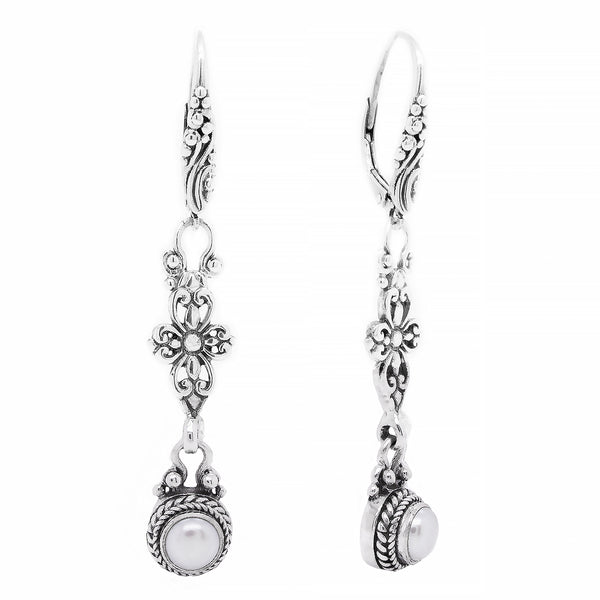 Precious Sarda .925 Sterling Silver Pearl Birthstone French Wire Earrings - Triple Blessings