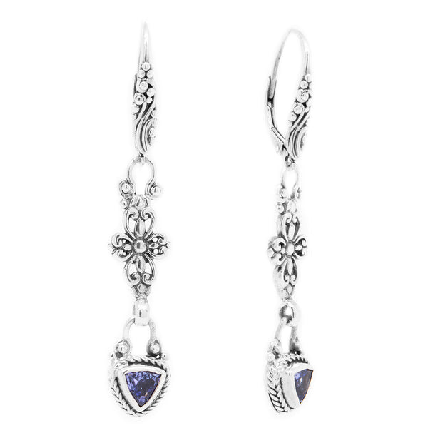 Precious Sarda .925 Sterling Silver Tanzanite Birthstone French Wire Earrings - Triple Blessings