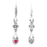 Precious Sarda .925 Sterling Silver Ruby Birthstone French Wire Earrings - Triple Blessings