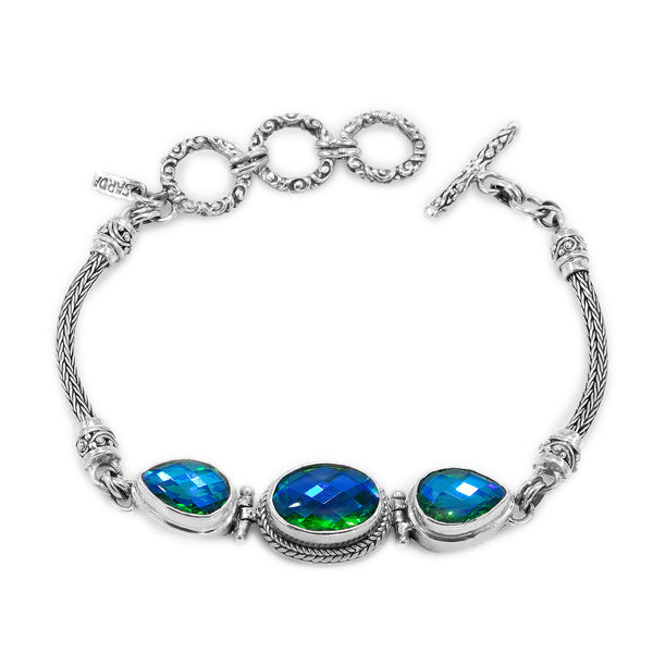 Precious Sarda .925 Sterling Silver Rainbow Peridot Quartz Toggle Bracelet - Triple Blessings