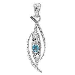Precious Sarda .925 Sterling Silver Fancy Cut Blue Topaz Handcrafted Pendant - Triple Blessings