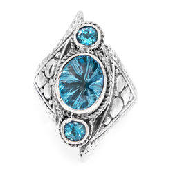 Precious Sarda .925 Sterling Silver Fancy Cut Blue Topaz Oval Handcrafted Ring - Triple Blessings