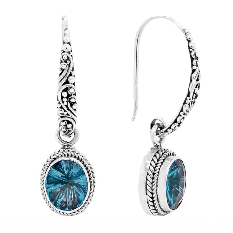 Precious Sarda .925 Sterling Silver Blue Topaz Handcrafted Wire Earrings - Triple Blessings