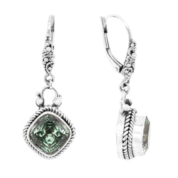Precious Sarda .925 Sterling Silver Prasiolite French Wire Dangle Earrings - Triple Blessings