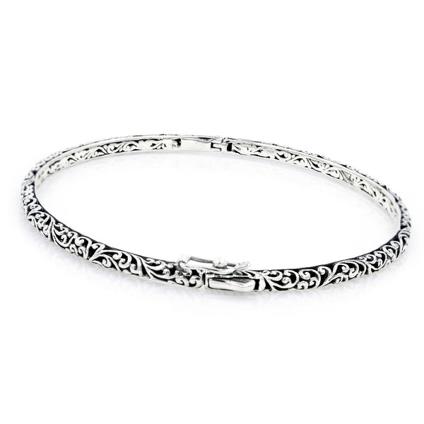 Precious Sarda .925 Sterling Silver Filigree Round Bangle Bracelet - Triple Blessings