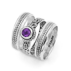 Precious Sarda .925 Sterling Silver Amethyst Birthstone Round Stacker Handcrafted Ring - Triple Blessings