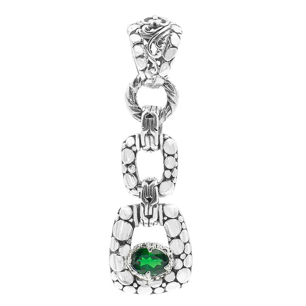 Precious Sarda .925 Sterling Silver Chrome Diopside Handcrafted Pendant