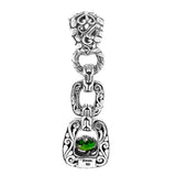 Precious Sarda .925 Sterling Silver Chrome Diopside Handcrafted Pendant - Triple Blessings