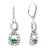 Precious Sarda .925 Sterling Silver Chrome Diopside French Wire Earrings - Triple Blessings