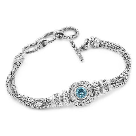 Precious Sarda .925 Sterling Silver Swiss Blue Topaz Birthstone Toggle Bracelet - Triple Blessings