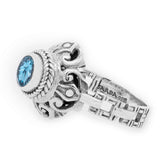 Precious Sarda .925 Sterling Silver Swiss Blue Topaz Birthstone Handcrafted Ring - Triple Blessings