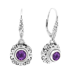 Precious Sarda .925 Sterling Silver Amethyst Birthstone French Wire Earrings - Triple Blessings