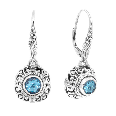 Precious Sarda .925 Sterling Silver Swiss Blue Topaz French Wire Earrings - Triple Blessings