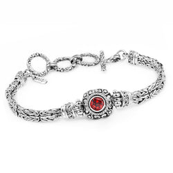 Precious Sarda .925 Sterling Silver Garnet Birthstone Toggle Bracelet - Triple Blessings