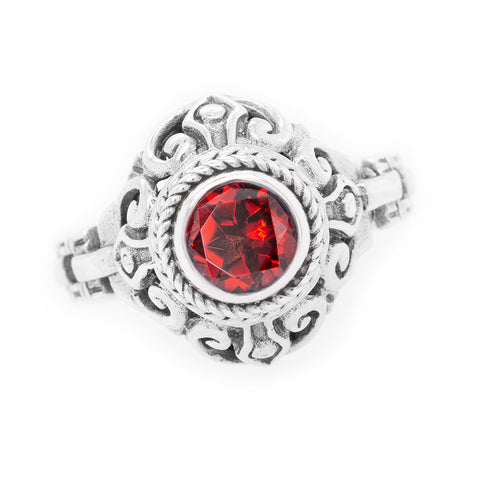 Precious Sarda .925 Sterling Silver Garnet Birthstone Handcrafted Ring - Triple Blessings