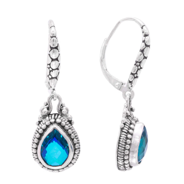 Precious Sarda .925 Sterling Silver Caribbean Quartz Dangle Earrings
