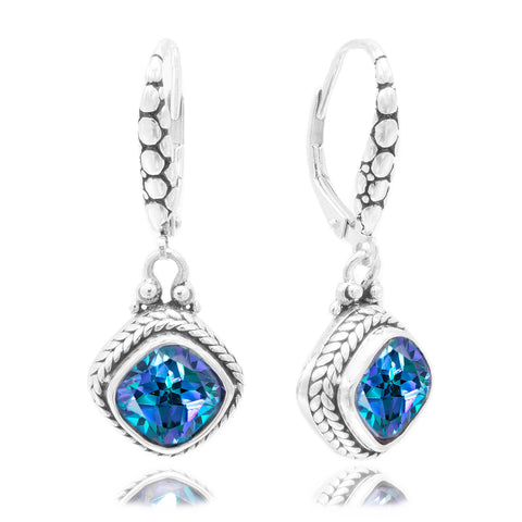 Precious Sarda .925 Sterling Silver Blueicious Quartz Dangle Earrings - Triple Blessings
