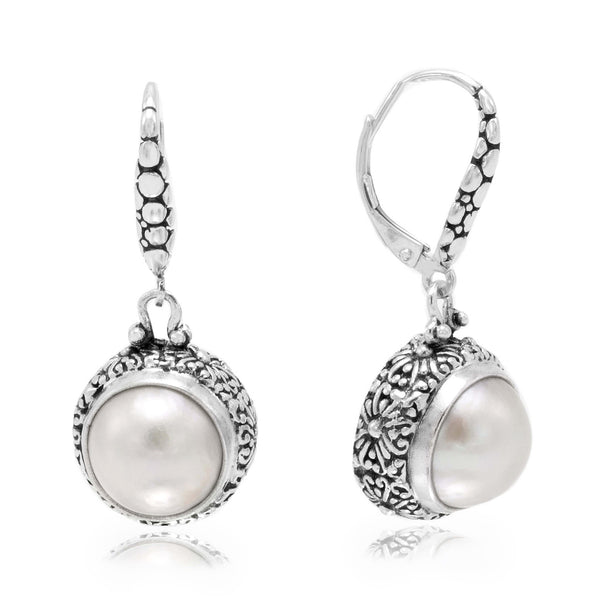 Precious Sarda .925 Sterling Silver White Mabe Pearl Dangle Earrings - Triple Blessings