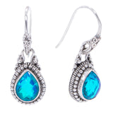 Precious Sarda .925 Sterling Silver Caribbean Quartz Handcrafted Wire Dangle Earrings - Triple Blessings