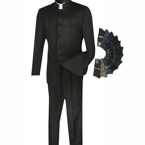 Sharp Mandarin Banded Collar Nehru Church Suit w/1 Pair of Socks - BLACK