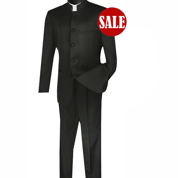 SALE! Sharp Mandarin Banded Collar Nehru Church Suit - BLACK