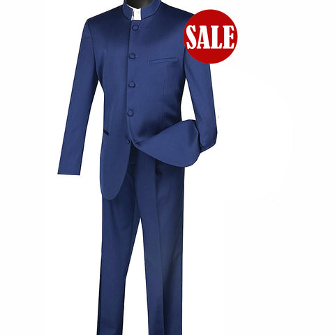 SALE! Sharp Mandarin Banded Collar Nehru Church Suit - NAVY - Triple Blessings