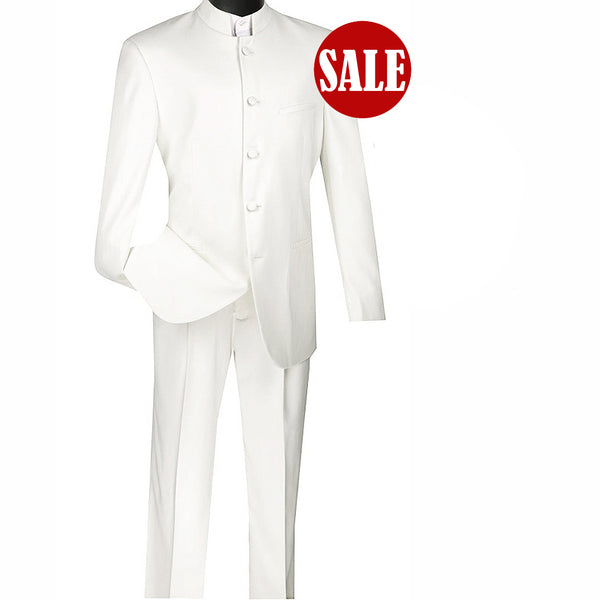 SALE! Sharp Mandarin Banded Collar Nehru Church Suit - WHITE - Triple Blessings
