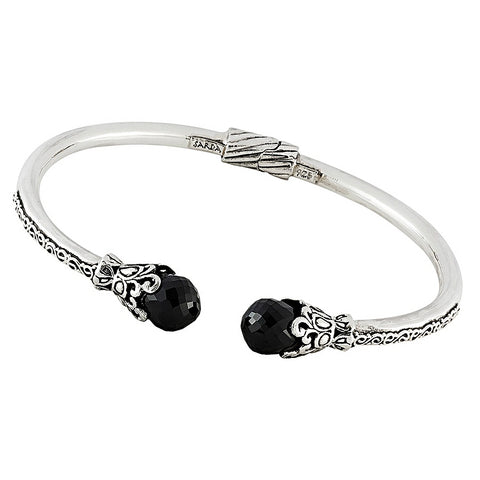 Precious Sarda .925 Sterling Silver Black Spinel Cable Bracelet - Triple Blessings