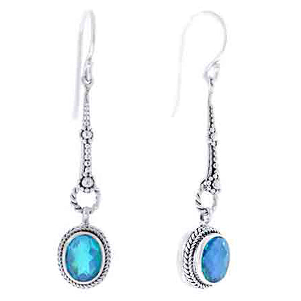 Precious Sarda .925 Sterling Silver Caribbean Quartz Handcraft Wire Dangle Earrings