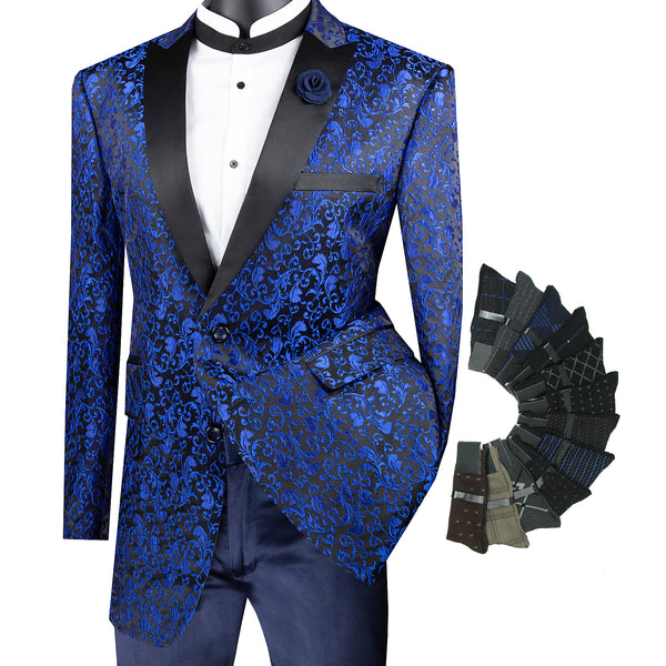 Luxurious Regular Fit Men Pattern Sport Coat Jacket Blazer w/1 Pair Socks - BLUE