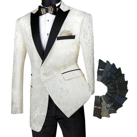 Luxurious Regular Fit Men Pattern Sport Coat Jacket Blazer w/1 Pair Socks - IVORY - Triple Blessings