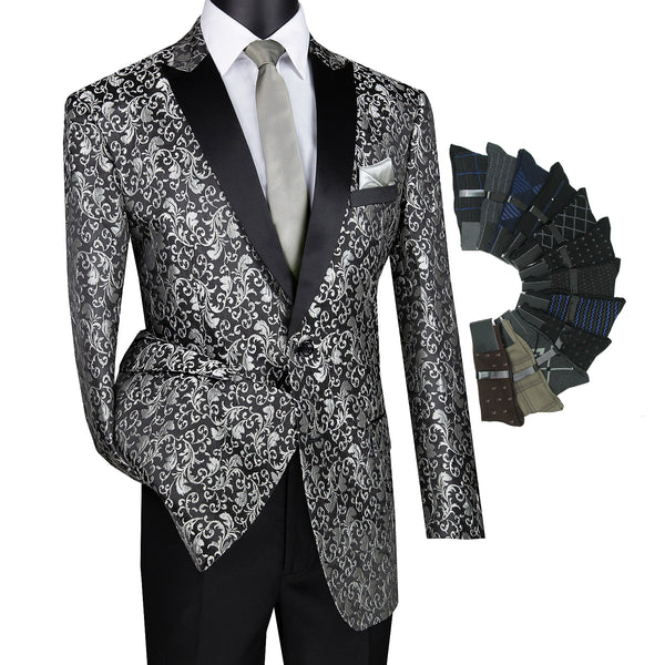 Luxurious Regular Fit Men Pattern Sport Coat Jacket Blazer w/1 Pair Socks - SILVER