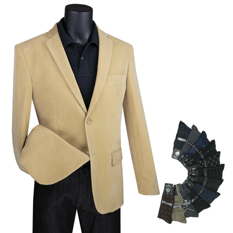 New Men's Luxurious Corduroy Jacket w/1 Pair of Socks - KHAKI - Triple Blessings