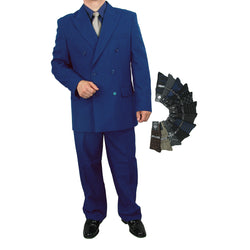 Sharp 2pc Men Double Breasted Dress Suit Luxurious Wool Feel w/1 Pair of Socks - BLUE - Triple Blessings