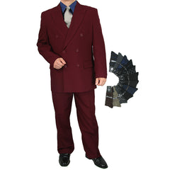 Sharp 2pc Men Double Breasted Dress Suit Luxurious Wool Feel w/1 Pair of Socks - BURGUNDY - Triple Blessings
