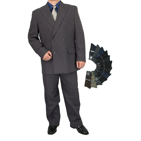 Sharp 2pc Men Double Breasted Dress Suit Luxurious Wool Feel w/1 Pair of Socks - HEATHER GRAY - Triple Blessings