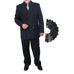 Sharp 2pc Men Double Breasted Dress Suit Luxurious Wool Feel w/1 Pair of Socks - NAVY - Triple Blessings